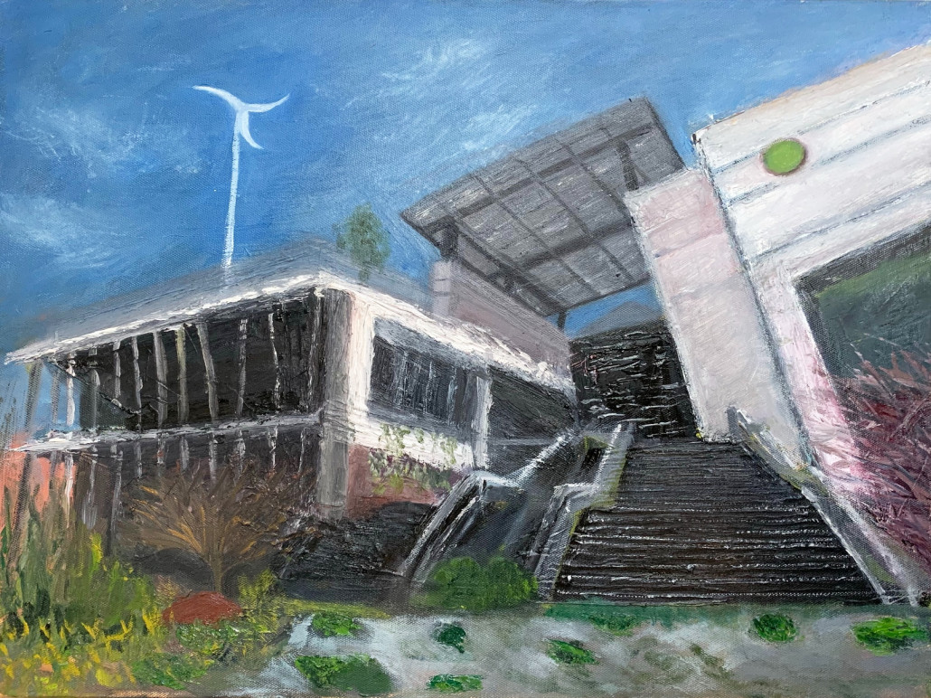 An oil painting of O'right Green Headquarters by Wu Sui-fen